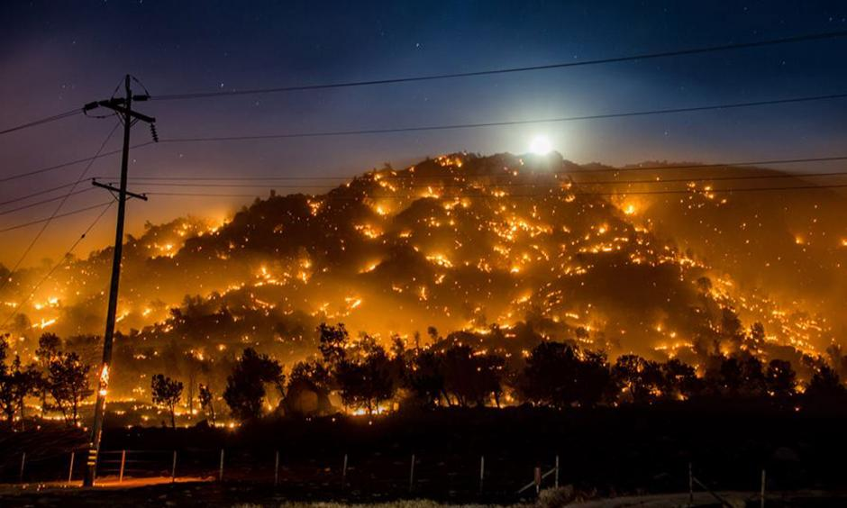 The Eskrine Fire still burns in Kern County. Photo: Cal Fire Twitter account