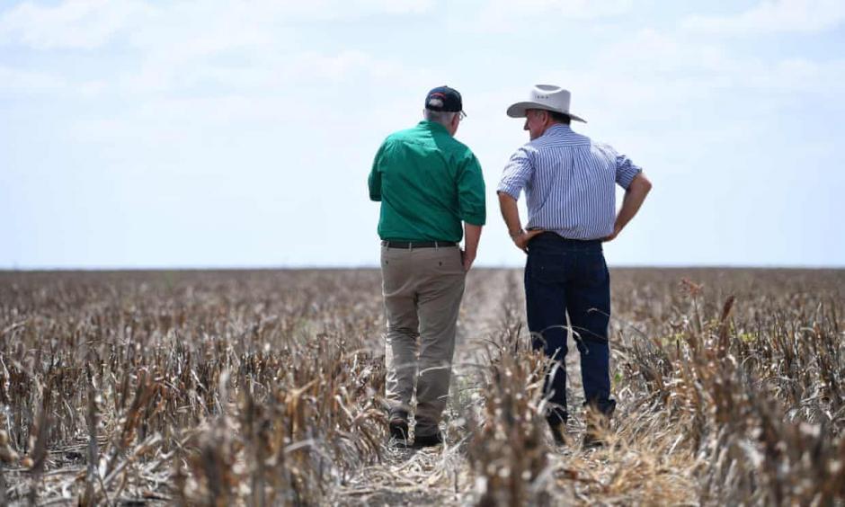 Prime minister Scott Morrison visits drought affected farm in Queensland. Credit: Dan Peled/EPA