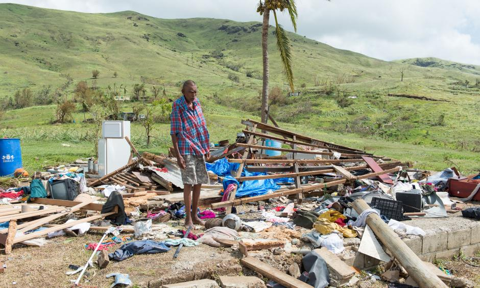 Damages from cyclone Winston in Fiji has exceeeded $470 million. In this photo, by the Mai Life Magazine, Naresh Kumar of Tuvu Lautoka looks at the remains of his house after it was destroyed by Cyclone Winston in Tuvu Lautoka on Feb. 22, 2016 in Fiji. Photo: Feroz Khalil, Getty Images