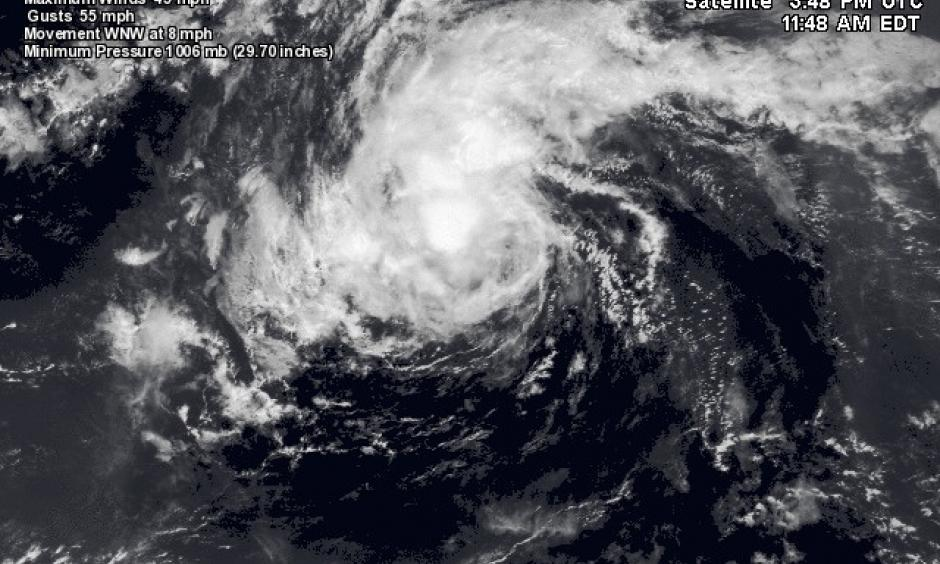 Visible satellite image of Tropical Storm Fiona. Image: NASA