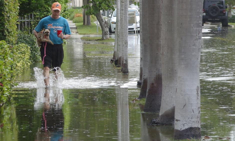 King tides flood area East of Downtown Fort Lauderdale. Photo: Joe Cavaretta