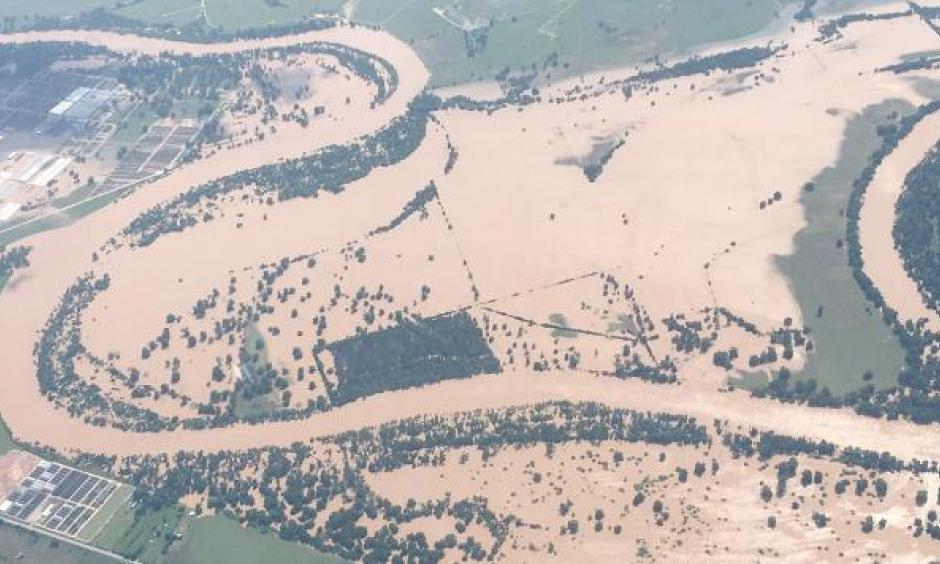 The flooded Brzos River as seen from above on Memorial Day Weekend. Photo:Terry W. Virts, Twitter