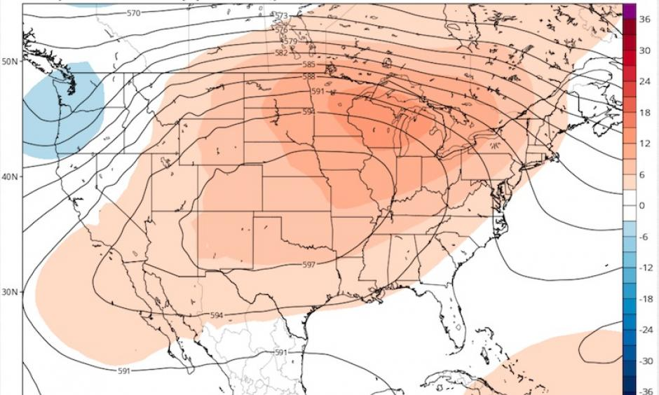 00-millibar heights (in decameters, or tens of meters) predicted for 8:00 PM Thursday, July 21, 2016, by the 12Z Monday GEFS (the ensemble run of the GFS model). The colors show how much the predicted 500-mb height deviates from the average for this time of year. Image: tropicaltidbits
