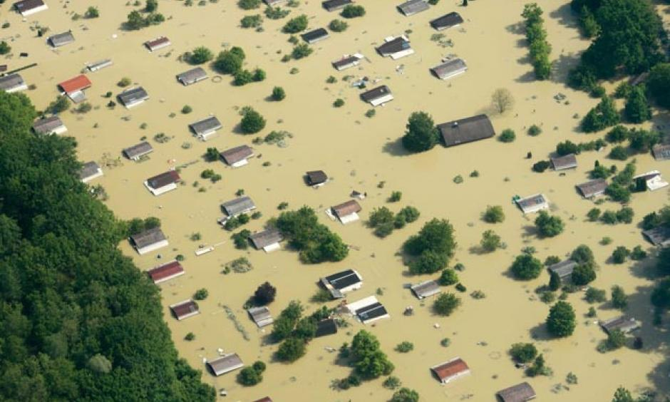 Aerial view of the flooded Danube River in Deggendorf, Germany on Friday, June 7, 2013. Photo: AP/Armin Wegel