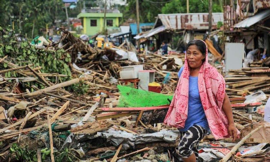 Destroyed houses in Sorgoson City after Typhoon Kammuri. Credit: Razvale Sayat/AFP/Getty Images.