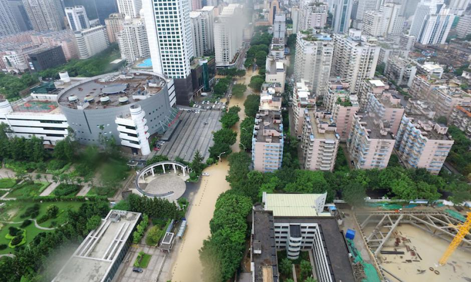 An aerial view of a flooded road in the city of Fuzhou, about 100 miles north of Typhoon Meranti's landfall, on September 15, 2016. Photo: VCG, via Getty Images