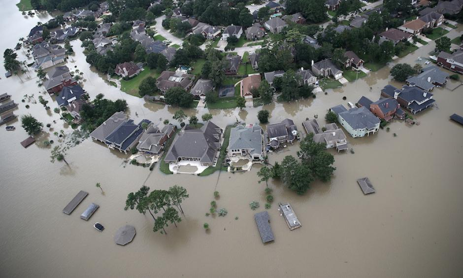 Flooded homes are shown near Lake Houston following Hurricane Harvey on Wednesday, August 30, 2017. Image credit: Photo by Win McNamee/Getty Images
