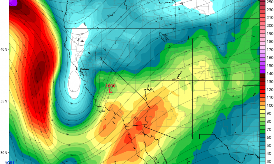 A strong, well-positioned jet streak will generate favorable conditions for intense rain rates and possibly thunderstorms across SoCal. Image: NCEP via tropicaltidbits.com
