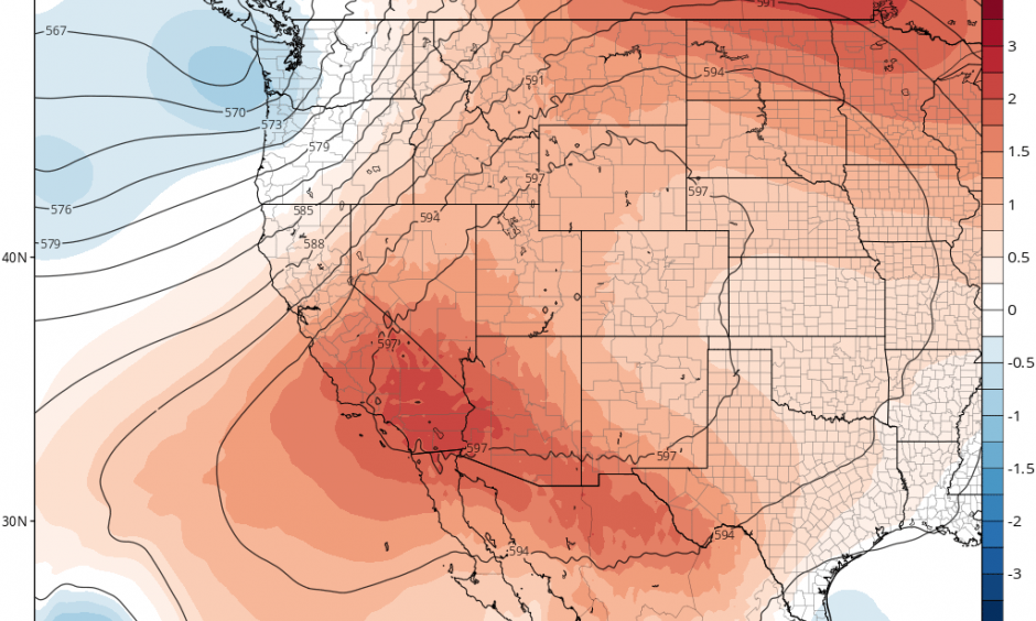 An unusual ridging configuration will keep this weekend's extreme heat largely confined to SoCal. Credit: Tropicaltidbits