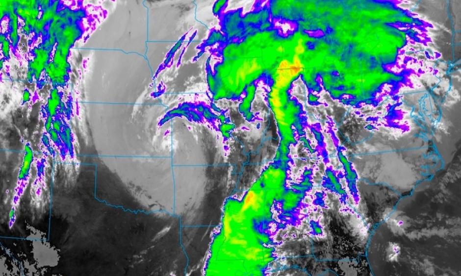 A GOES-16 infrared satellite image from 11:21 am CDT Thursday, March 30, 2017, shows the upper-level low centered near the KS/MO border, with extensive clouds and thunderstorms stretching ahead of it from the Great Lakes to the Gulf of Mexico. A small pocket of relatively clear air may allow for storm redevelopment on Thursday afternoon over the lower Ohio Valley. GOES-16 data are preliminary, non-operational, and still being tested. Image: NEXLAB/College of Dupage