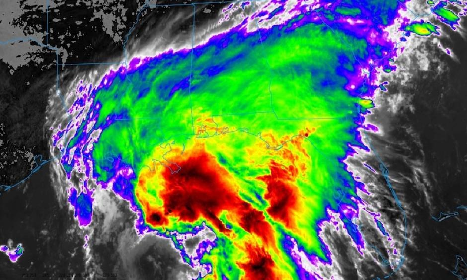 Infrared GOES-16 satellite image of Tropical Storm Cindy as it approached the U.S. Gulf Coast at 12:52 pm EDT Tuesday, June 20, 2017. Showers and thunderstorms are concentrated on the northeast side of Cindy's broad center, with almost none on the southwest side. GOES-16 satellite images are preliminary and non-operational. At the time of this image, Cindy was classified as Potential Tropical Cyclone 3. Photo: College of DuPage