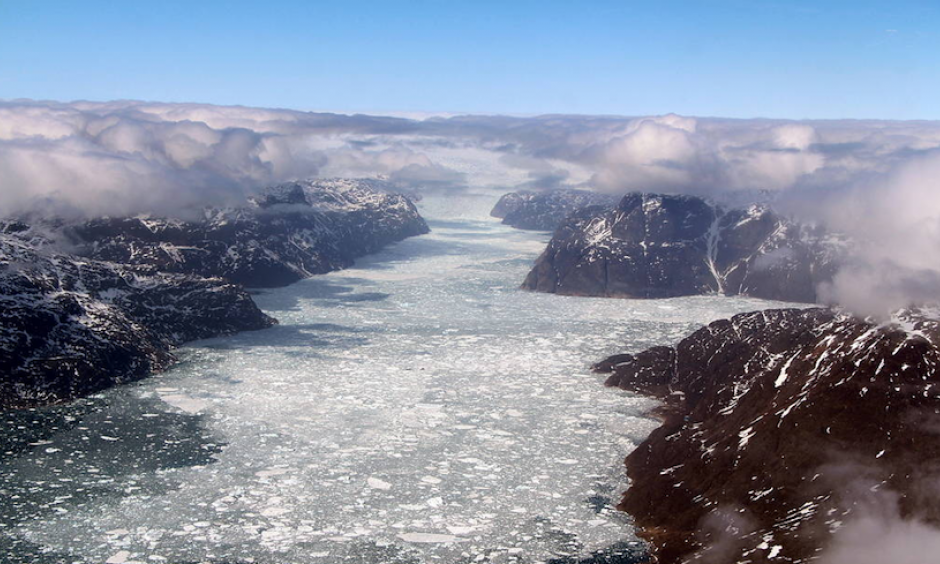 A fjord in southern Greenland, as seen during NASA's Operation IceBridge's last flight of the 2017 Arctic campaign, on May 12, 2017. IceBridge has operated over the last few year to supplement observations of Arctic sea ice ahead of the upcoming Ice, Cloud, and land Elevation Satellite-2 (ICESat-2), due to launch in 2018. Photo: John Sonntag, NASA