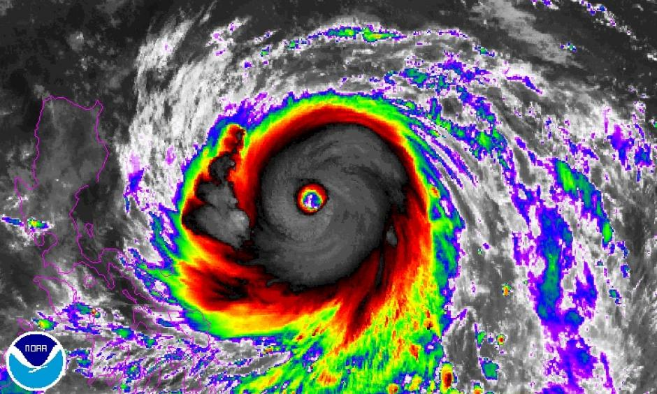 Enhanced infrared image from Japan's Himiwari-8 satellite of Super Typhoon Haima as of 1400Z (10:00 am EDT) Tuesday, October 18, 2016. Image: NOAA/NESDIS