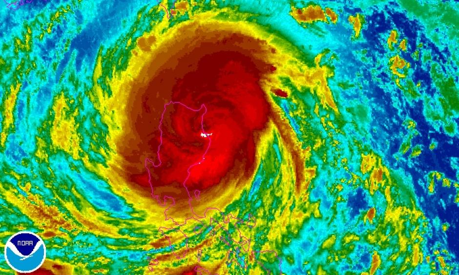 Enhanced infrared image from Japan's Himawari-8 satellite of Typhoon Haimi as of 1430Z (10:30 pm local time or 10:30 am EDT) Wednesday, October 19, 2016. Image: NOAA/NESDIS