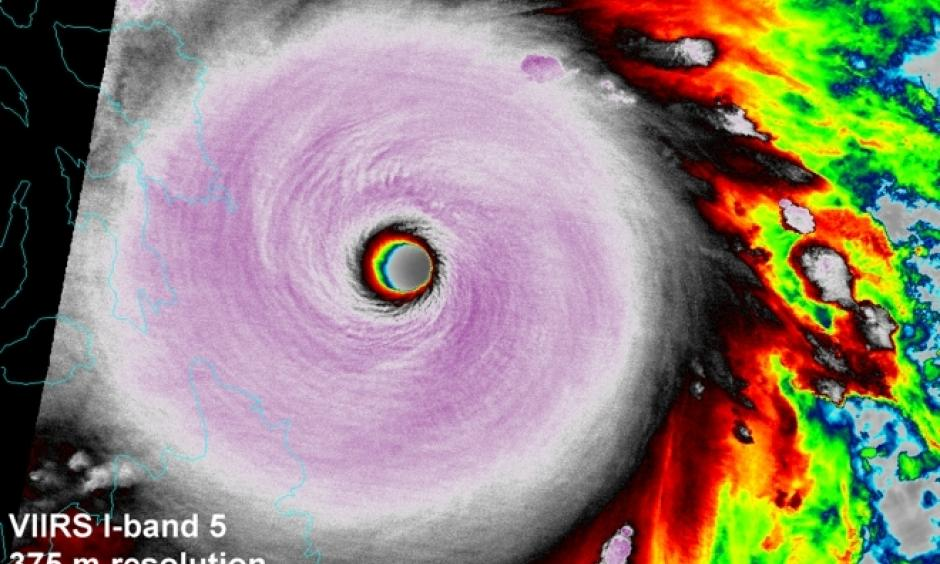Infrared VIIRS image of the eye of Haiyan taken at 16:19 UTC November 7, 2013. At the time, Haiyan was at peak strength with 195 mph sustained winds. Image: NOAA, CIRA