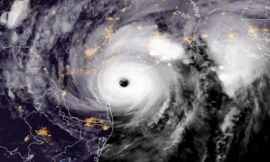 GOES-16 geocolor image of Harvey making landfall in Texas at 8 pm CDT August 25, 2017. Photo: NOAA Satellites. GOES-16 imagery is preliminary and non-operational.