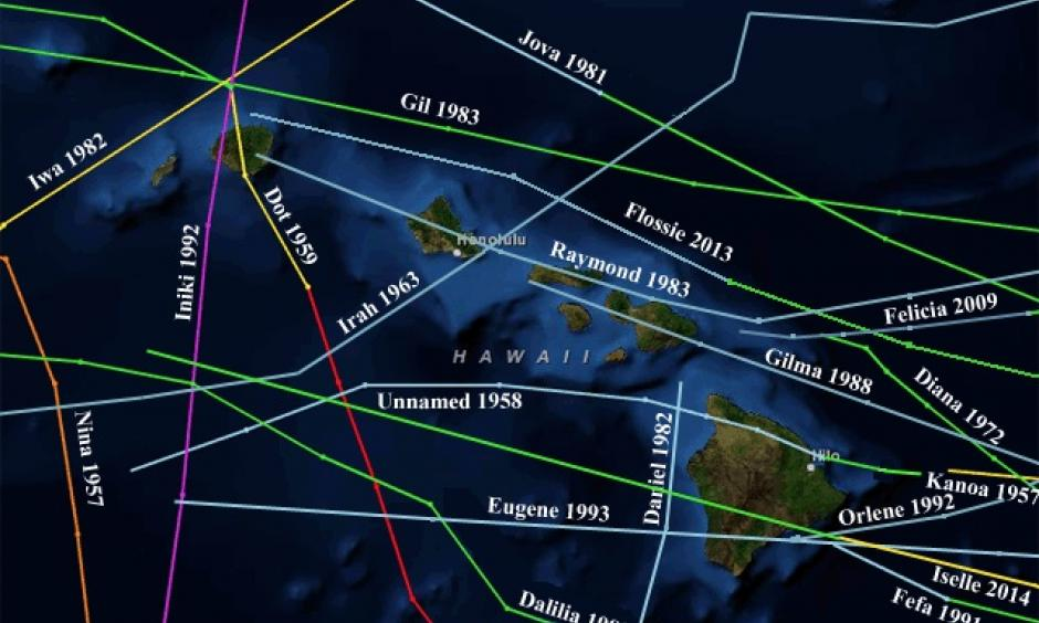 Tracks of all tropical cyclones (tropical depressions, tropical storms, and hurricanes) to pass within 100 miles of the Hawaiian Islands, 1949 - 2014. Image: NOAA / CSC