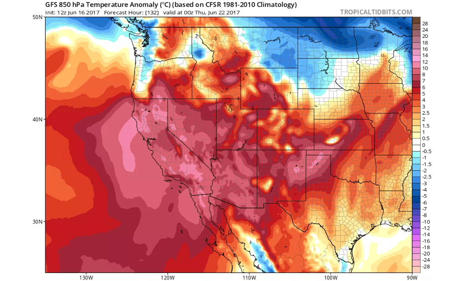 Very warm temperatures will encompass all of California during this heat wave. Image: NCEP via tropicaltidbits