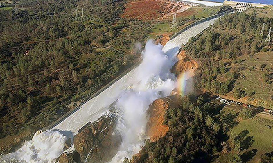 An aerial photo released by the California Department of Water Resources shows the damaged spillway with eroded hillside in Oroville, Calif. Photo: William Croyle, via AP