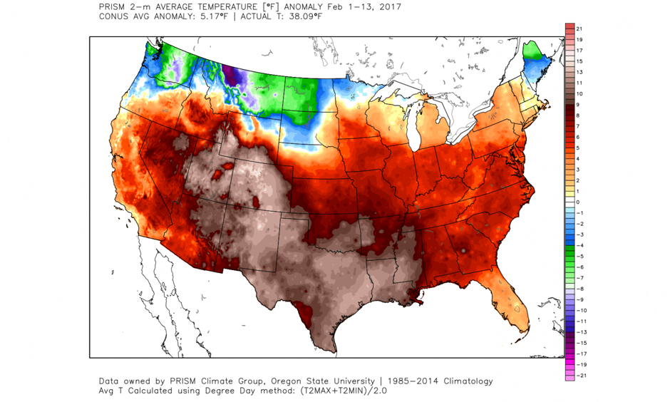 Average temperature difference from normal Feb. 1-Feb. 13. Image: WeatherBell.com