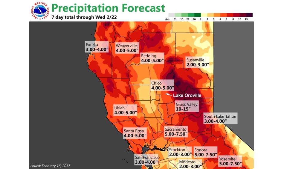 Predicted 7-day rainfall amounts in northern California beginning on Thursday, February 16. Image: NWS Sacramento