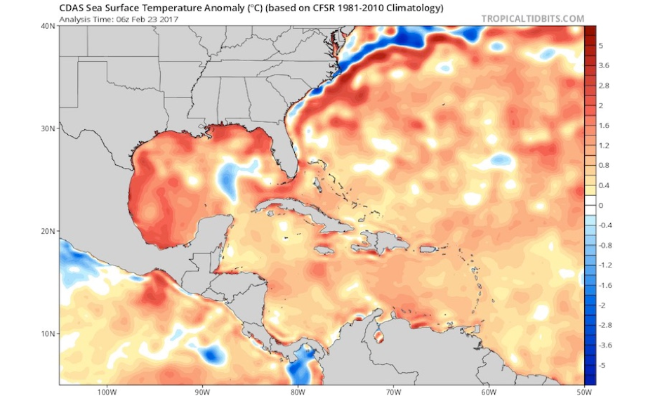 Sea-surface temperatures early on Thursday, February 23, 2017, were running 1-2°C (1.8-3.6°F) above average over large parts of the Gulf of Mexico, Caribbean, and northwest Atlantic. Image: www.tropicaltidbits.com, via Eric Blake