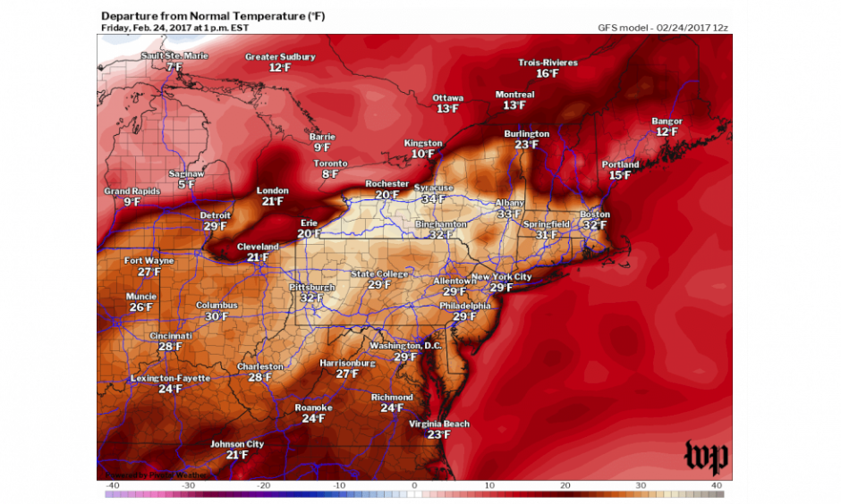Temperature difference from normal at 1 p.m. Friday analyzed by GFS model. Image: Washington Post