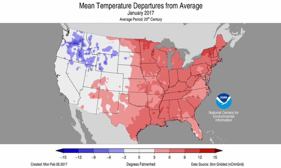 January 2017 Average Temperature Departures. Image: NOAA