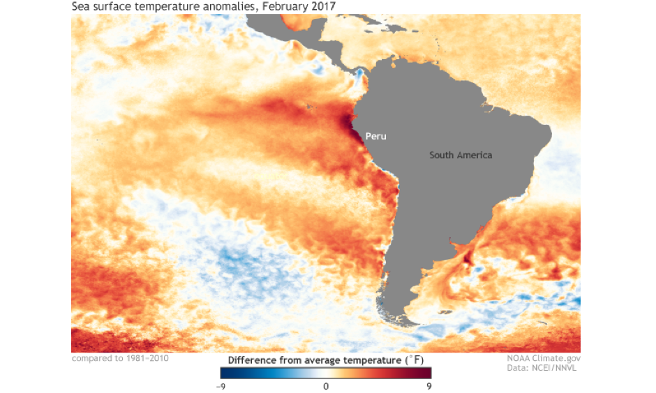 Monthly sea surface temperature anomalies in the eastern Pacific Ocean for February 2017 from NOAA's OISST dataset. Water temperatures off the coast of South America, especially Peru and Ecuador, were well-above normal, exceeding 9°F in some locations. This helped to enhance rainfall across Peru. Image: NOAA Climate.gov based on data from NOAA's Environmental Visualization Laboratory.