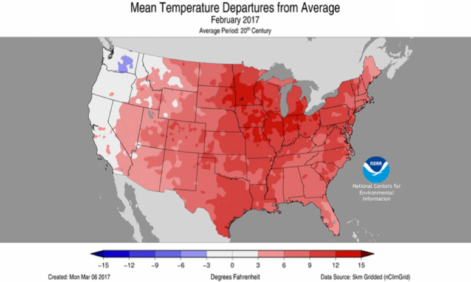 Temperatures across the contiguous United States in February 2017 compared to the twentieth-century average. Image: NOAA NCEI map