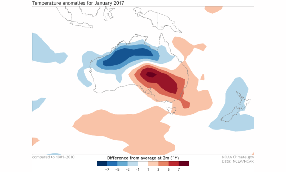 Difference from normal in 2-m surface temperature for January 2017. Eastern Australia experienced a warmer than average January while western Australia was cooler than average. Image: NOAA Climate.gov map, based on NCEP/NCAR Reanalysis data