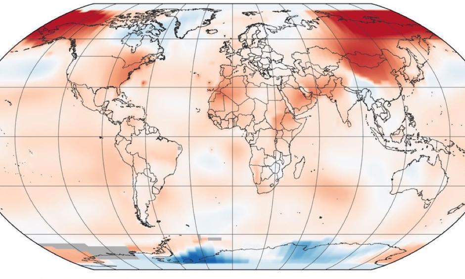 Global average surface temperature anomalies during April 2017. Image: NASA GISS