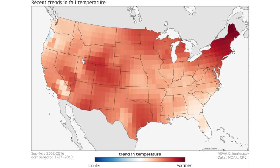 The climate trends, defined as the Optimum Climate Normals, for fall temperatures across the United States. The trend is determined by taking the average fall temperatures over the last 15 years and subtracting the average fall temperatures from 1981-2010. Image: NOAA Climate.gov using data from the Climate Prediction Center