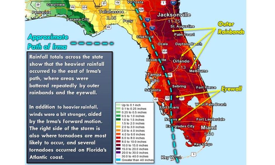"Rainfall from Hurricane Irma over Florida. Irma brought widespread rainfall amounts of 6 – 15"" to the Lake Okeechobee watershed, which runs north-northwestward from the lake to the Orlando region. Image: NWS Tampa Bay"