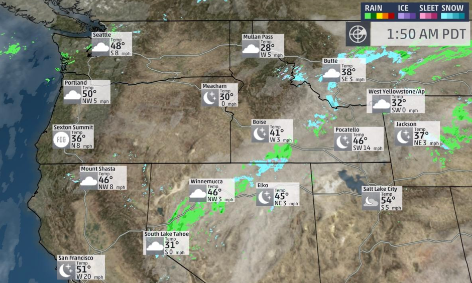 Radar and satellite conditions. Image: The Weather Channel