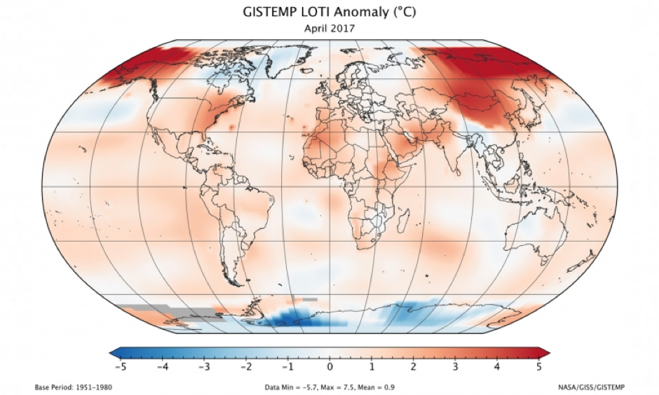 Temperatures were well above average globally in April, with the biggest temperature anomalies in the Arctic. Image: NASA GISS