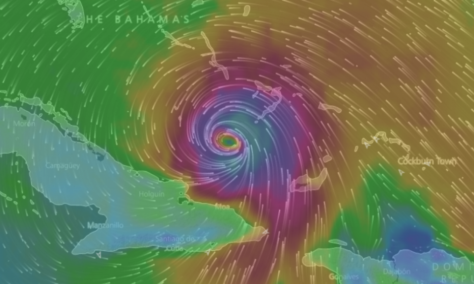 Hurricane Matthew analysis. Image: windyty.com
