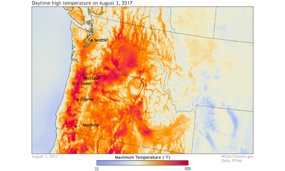 Daytime high temperatures across the Pacific Northwest United States on August 3, 2017. Image: NOAA Climate.gov; data from NOAA's Real-Time Mesoscale Analysis (RTMA)