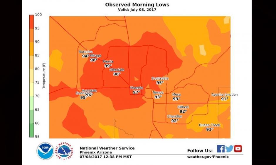 Overnight lows on Saturday morning in the Phoenix area stayed in the 90s. Image: NOAA