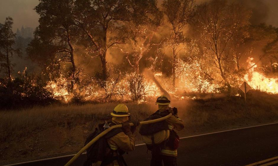 Firefighters battling a wildfire near Oroville, California, on Saturday, July 8. Photo: Noah Berger, AP