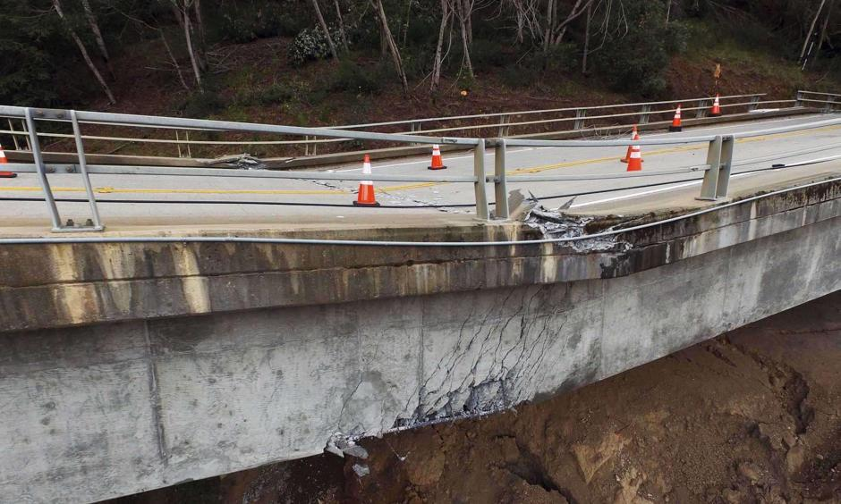 Pfeiffer Canyon Bridge on Highway 1 has been closed and condemned due to damage from storms in Big Sur, Calif. on Wednesday, March, 8, 2017. Photo: LiPo Ching, Bay Area News Group
