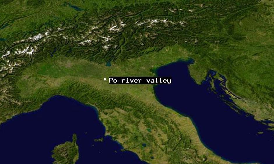 Satellite view of Po river valley. Image: NASA Goddard Space Flight Center