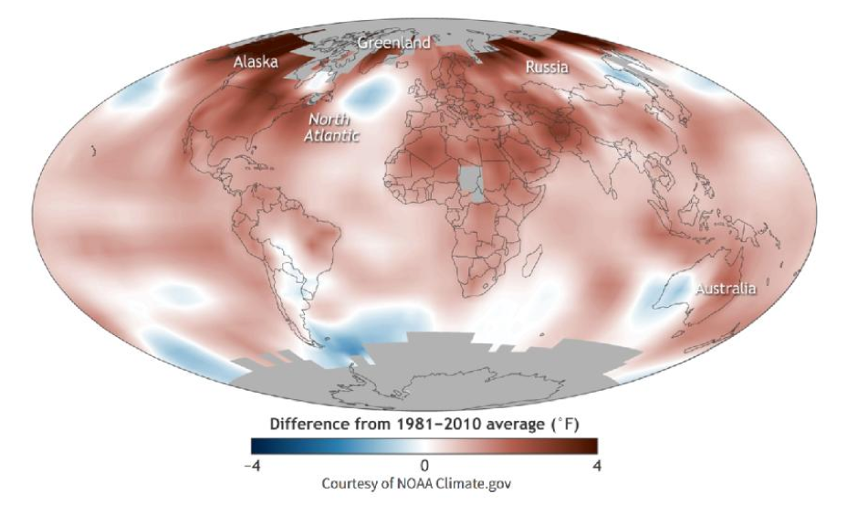 This map shows how much of the planet's surface had above-average temperatures in 2016. Image: NOAA Climate