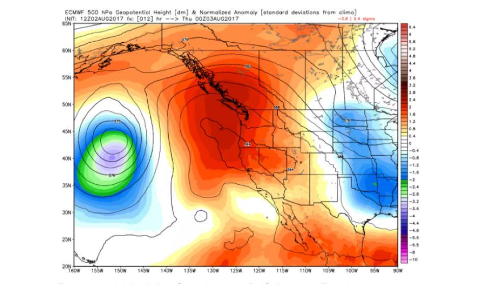 European model simulation of heat dome over Pacific Northwest Thursday. Image: WeatherBell.com