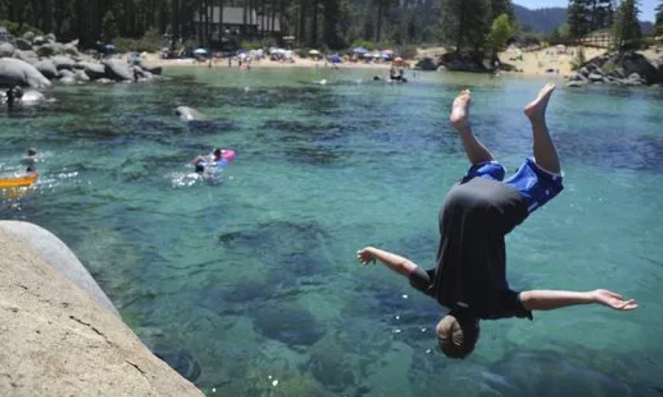 In 2013: A swimmer enjoys the waters of lake Tahoe on Sunday, July 7, 2013. Photo: RGJ file