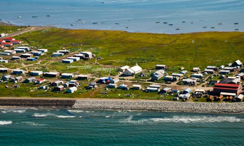 Shismaref, a village in Alaska that voted to relocate to the mainland in the face of sea level rise. Photo: Bering Land Bridge National Park, flickr
