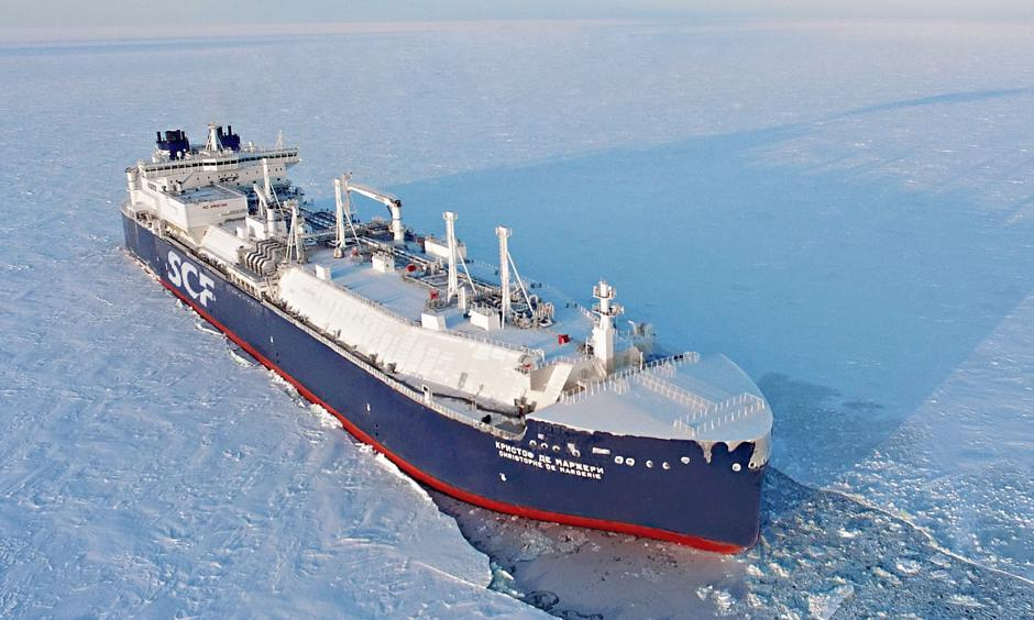 The Christophe de Margerie carried a cargo of liquefied natural gas from Hammerfest in Norway to Boryeong in South Korea in 22 days. Photo: The Guardian