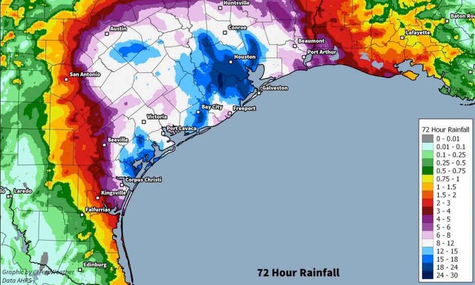 Estimated observed rainfall totals in Southeast Texas through Sunday morning. Image: Jordan Tessler