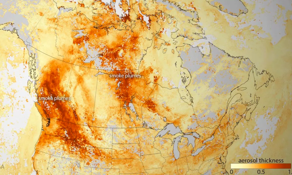 Wildfires produce high concentration of aerosols, smoke, and haze (dark orange). Photo: NOAA