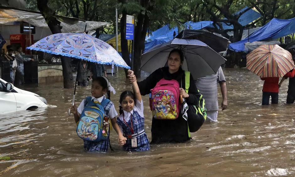 A Mumbai street after flooding that left more than 20 people dead. Photo: Rajanish Kakade, AP